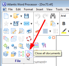 The 'Close all documents' toolbar button