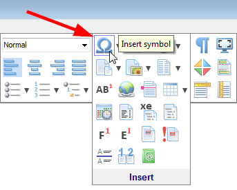 The 'Insert symbol' toolbar button