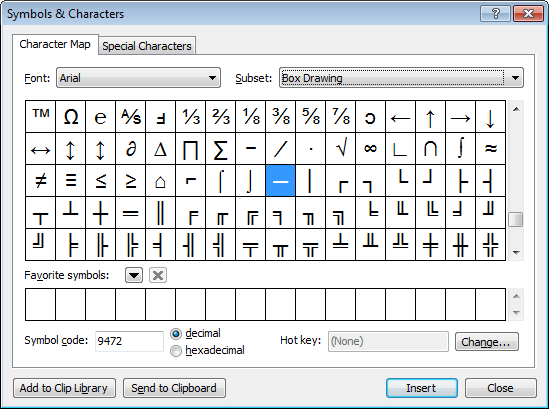 The 'Symbols and Characters' dialog