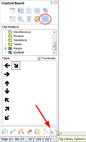 The 'Clip Library Options' button